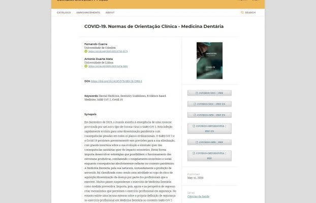 Publication in a book of the Standards of Clinical Guidance for dental medicine in the context OF COVID-19