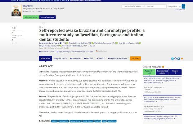 Publication of scientific article in CRANIO magazine